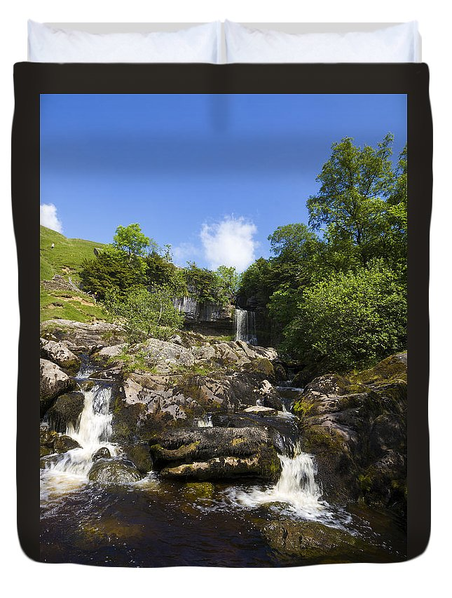 Waterfall Duvet Cover featuring the photograph Yorkshire Dales Waterfall by Chris Smith