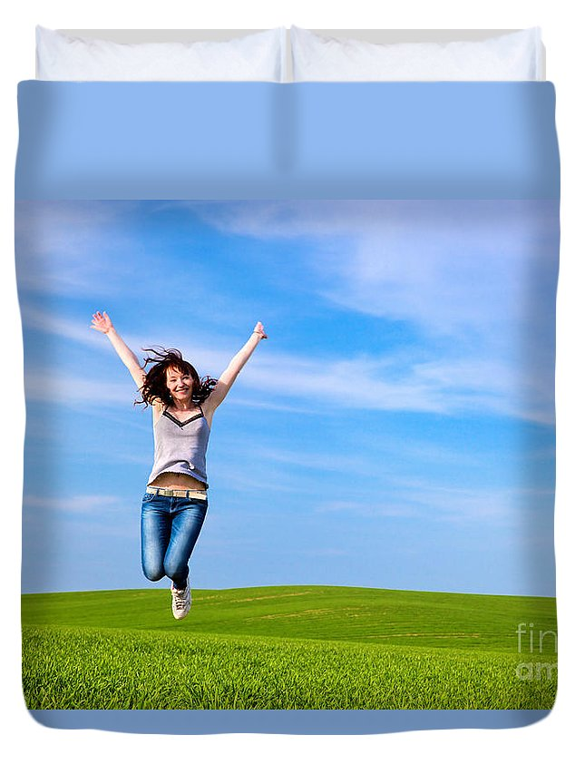 Grass Duvet Cover featuring the photograph Young Beautiful Woman Jumping For Joy by Michal Bednarek