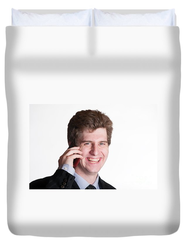 Adult Duvet Cover featuring the photograph Young Business Man On The Cell Phone by Gunter Nezhoda
