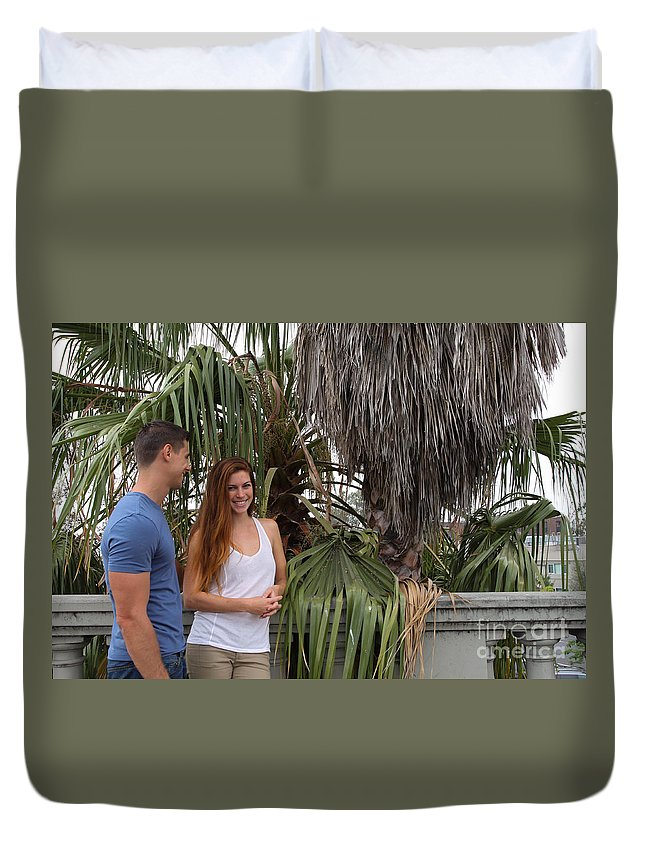 Woman Duvet Cover featuring the photograph Young Couple Palm Tree by Henrik Lehnerer