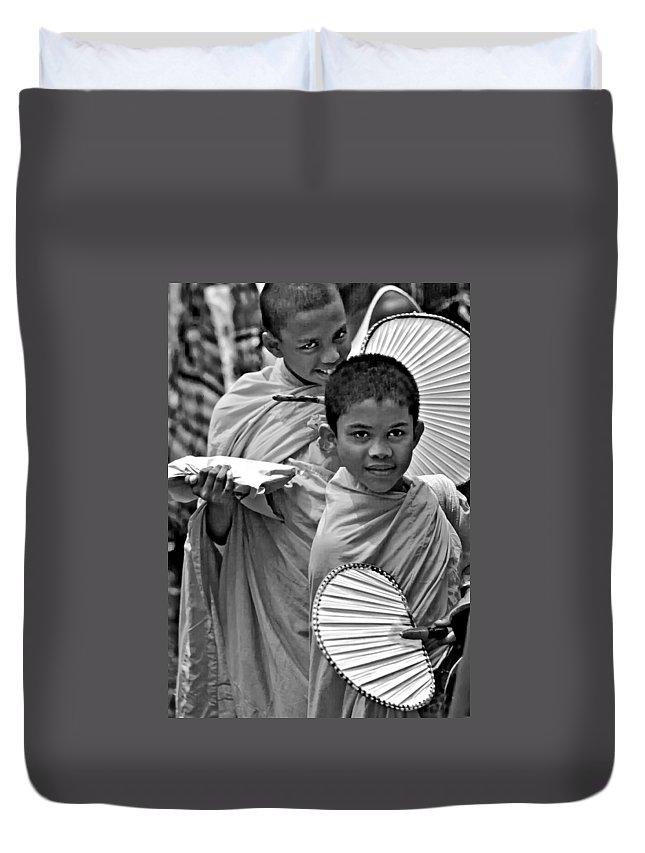 Buddhism Duvet Cover featuring the photograph Young Monks Bw by Steve Harrington