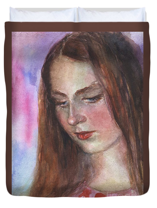 Girl 3 Duvet Cover featuring the painting Young Woman Watercolor Portrait Painting by Svetlana Novikova