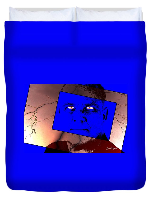 Adult Duvet Cover featuring the photograph Zweistein - The Brain Man by Gunter Nezhoda