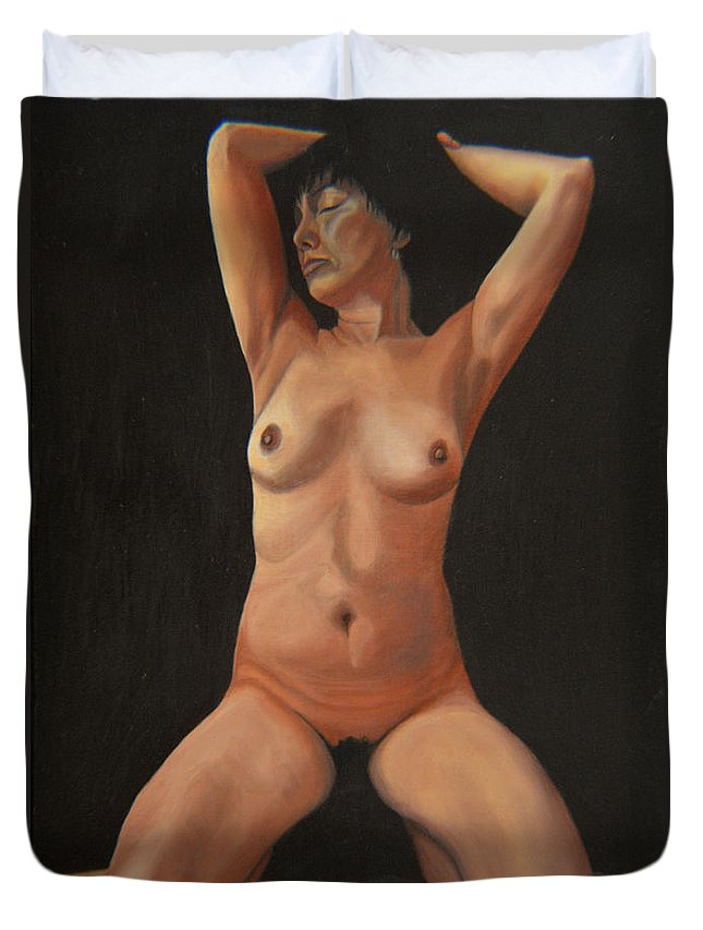 Sexual Duvet Cover featuring the painting 10 Am by Thu Nguyen