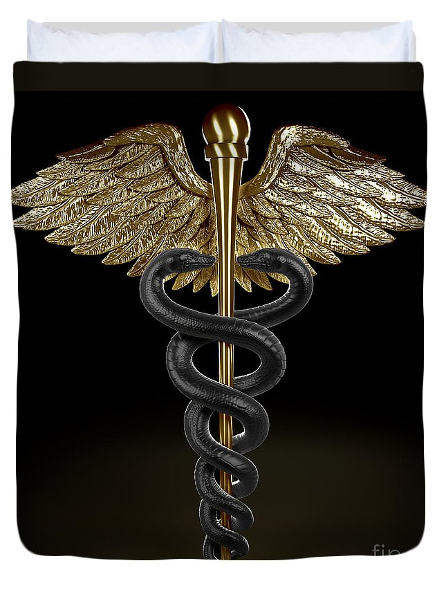 Medical Symbol Duvet Cover featuring the photograph Caduceus by Science Picture Co