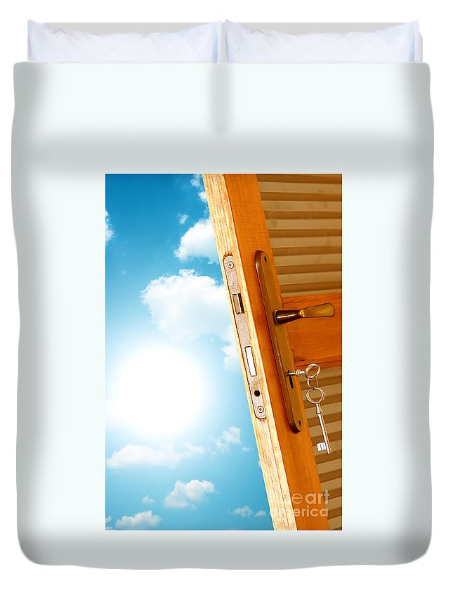 Air Duvet Cover featuring the photograph Door To New World by Michal Bednarek