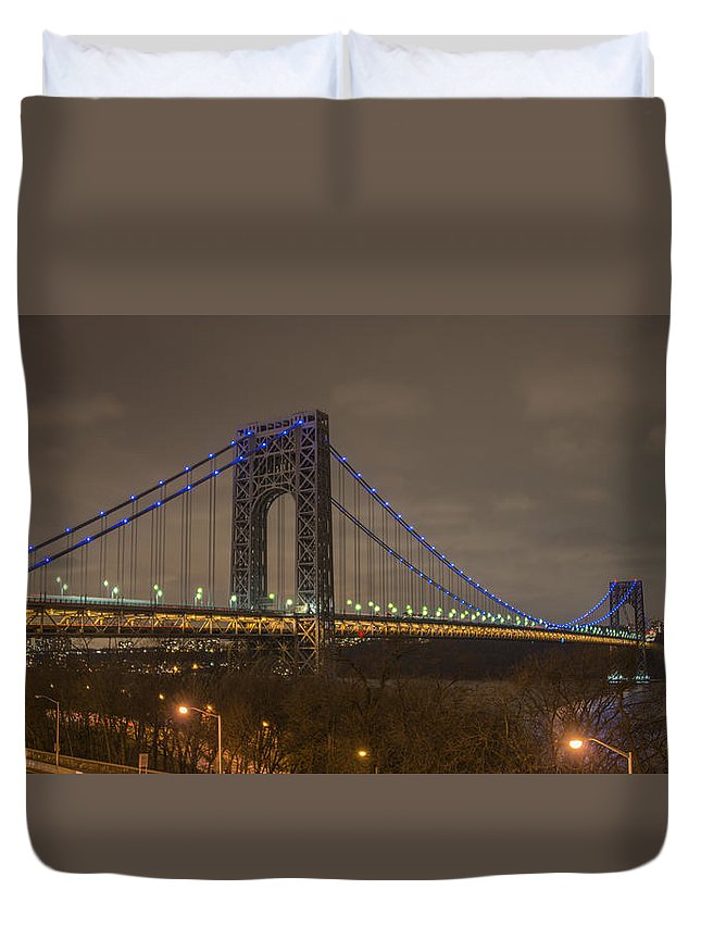 Gwb Duvet Cover featuring the photograph George Washington Bridge by Theodore Jones