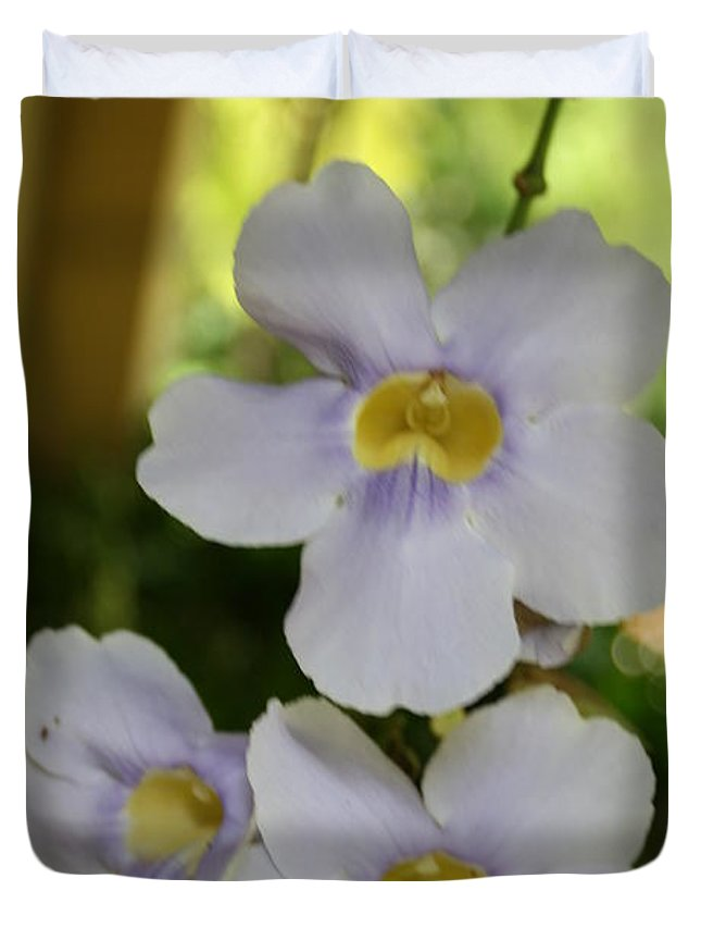 Purple Duvet Cover featuring the photograph Purple Yellow Tropical Flower by Arelys Jimenez