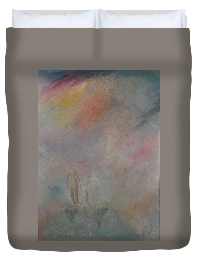 Cuple Duvet Cover featuring the painting 1001 Pink by Asher Topel