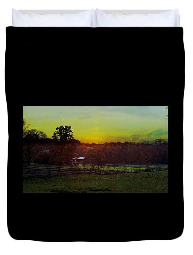 Sunrise Duvet Cover featuring the photograph 101908-1 by Mike Davis