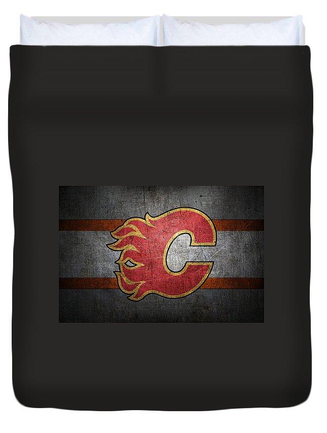 Flames Duvet Cover featuring the photograph Calgary Flames by Joe Hamilton