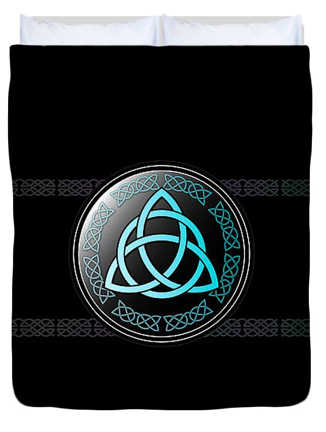 Celtic Duvet Cover featuring the digital art Celtic Triquetra by Ireland Calling