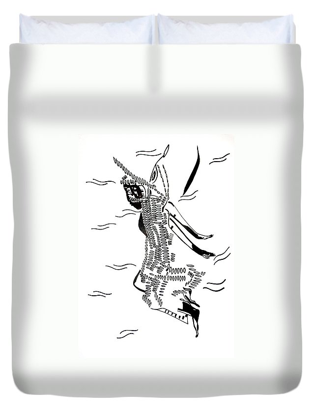 Jesus Duvet Cover featuring the drawing Dinka Dance - South Sudan by Gloria Ssali
