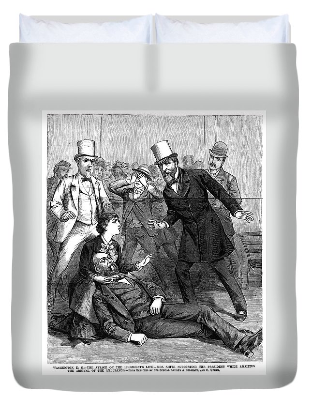 1881 Duvet Cover featuring the painting Garfield Assassination by Granger