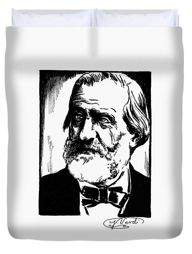 19th Century Duvet Cover featuring the drawing Giuseppe Verdi (1813-1901) by Granger