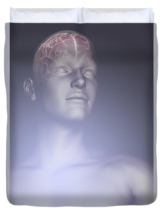 Biomedical Illustration Duvet Cover featuring the photograph The Human Brain by Science Picture Co