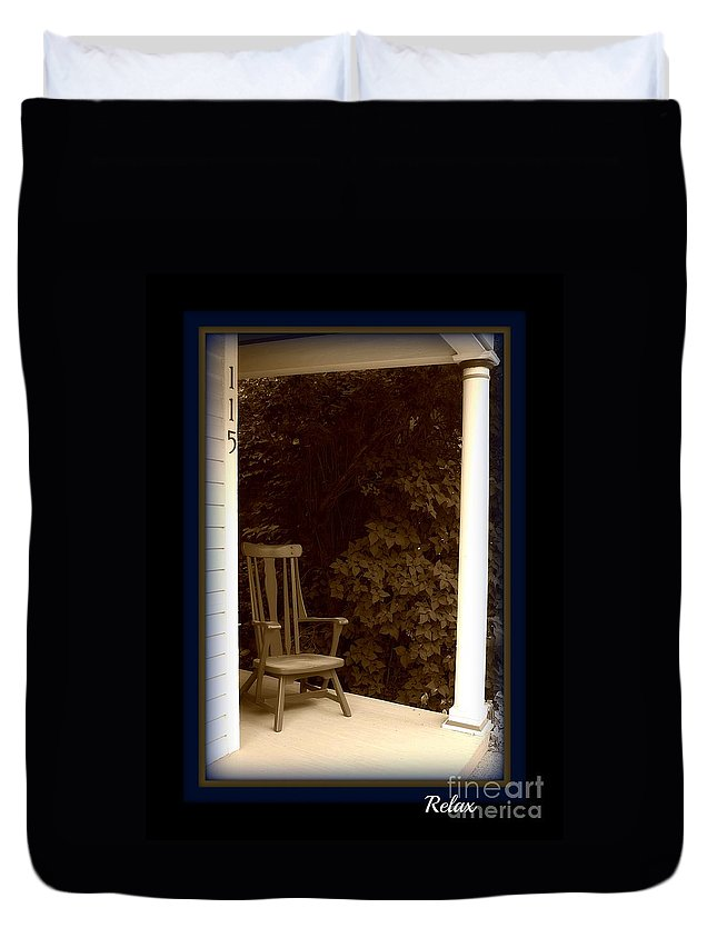 Porch Chair Duvet Cover featuring the photograph 115 by Brenda McGee-Paap