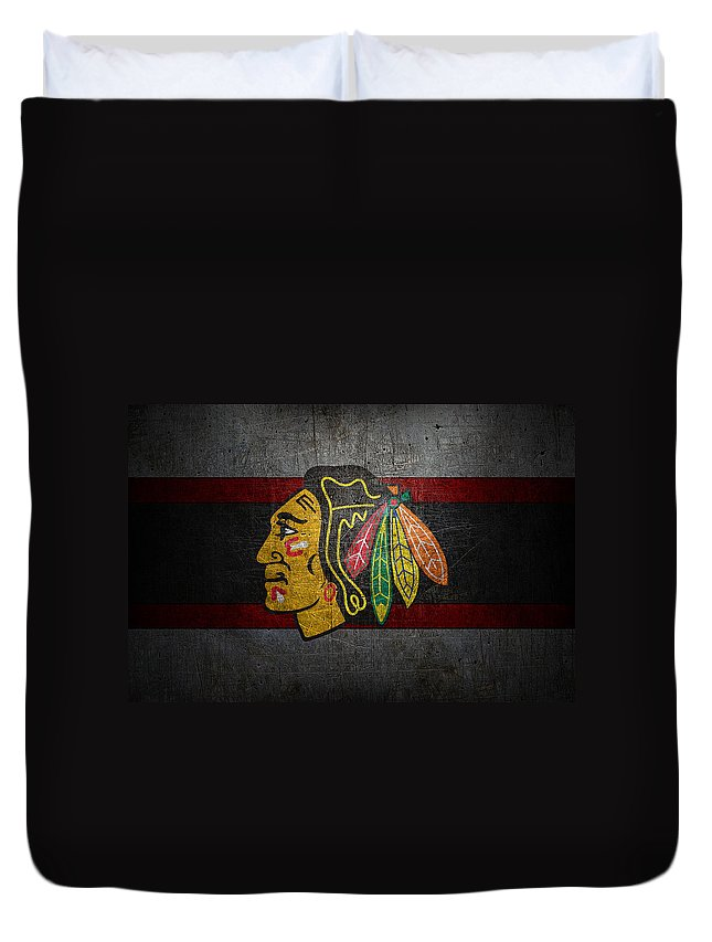 Blackhawks Duvet Cover featuring the photograph Chicago Blackhawks by Joe Hamilton