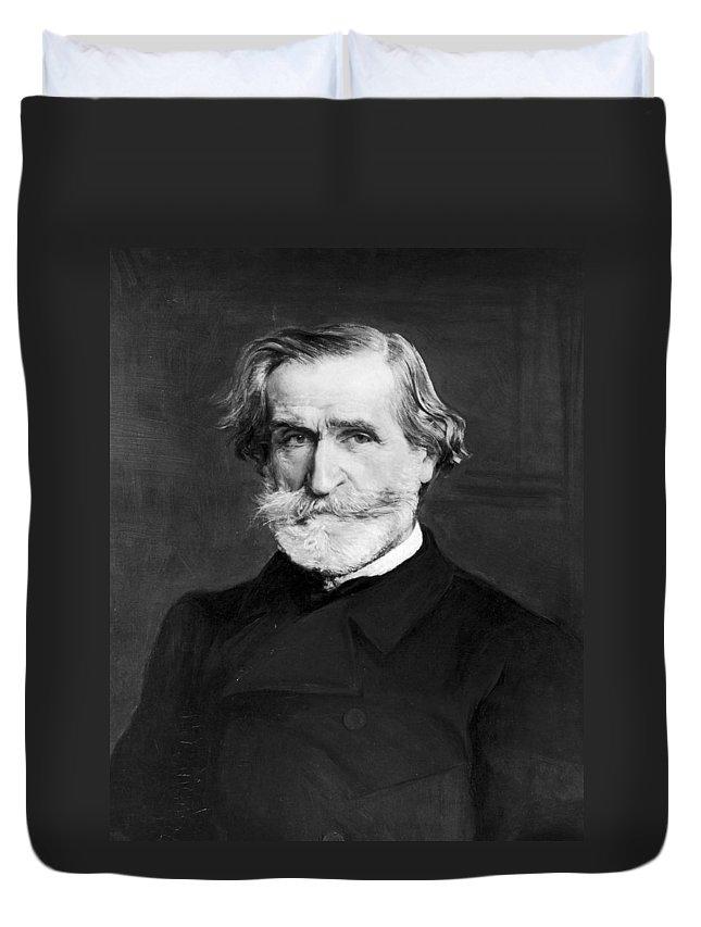 1886 Duvet Cover featuring the painting Giuseppe Verdi (1813-1901) by Granger