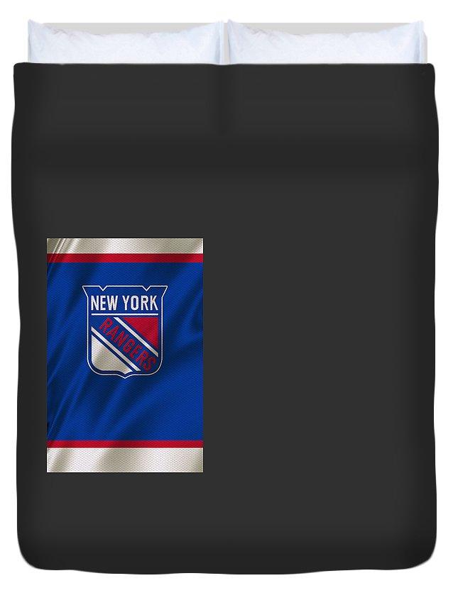 Rangers Duvet Cover featuring the photograph New York Rangers by Joe Hamilton