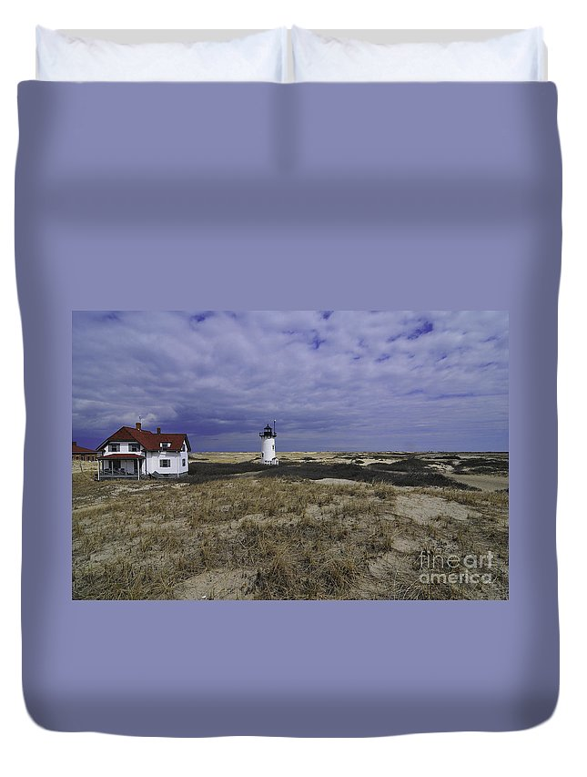 Race Point Light Duvet Cover featuring the photograph Race Point Light 9 by Catherine Reusch Daley