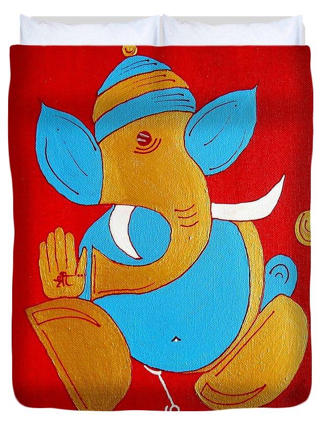 Ganesha Duvet Cover featuring the painting 12 Shubham - Auspicious Ganesha by Kruti Shah