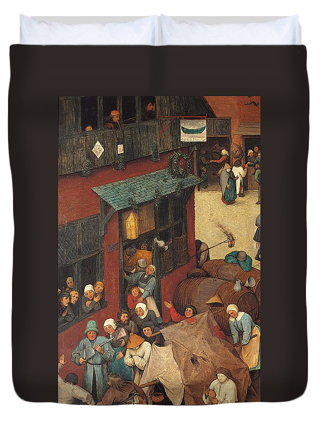 Allegory Duvet Cover featuring the painting The Fight Between Carnival And Lent by Pieter the Elder Bruegel