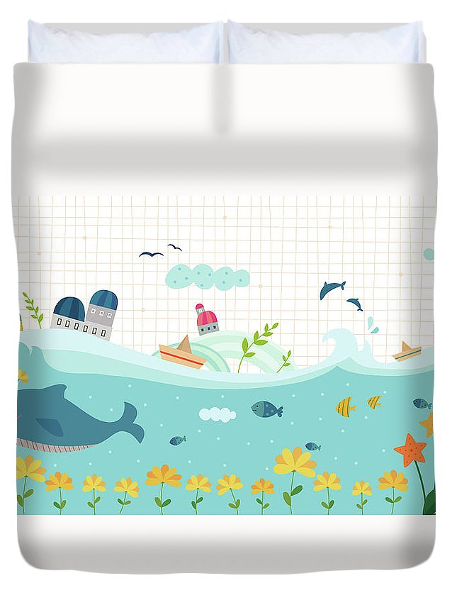 Seaweed Duvet Cover featuring the digital art View Of Town by Eastnine Inc.