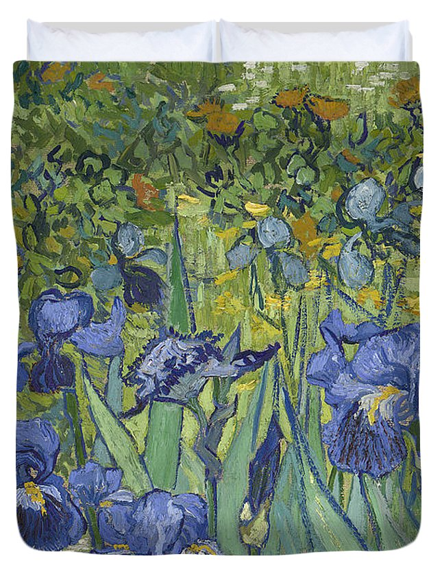 Irises Duvet Cover featuring the painting Irises by Vincent Van Gogh