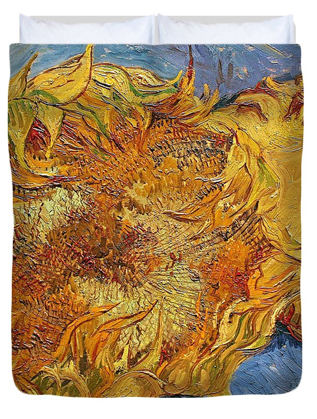 Yellow Duvet Cover featuring the painting Sunflowers, 1887 by Vincent Van Gogh