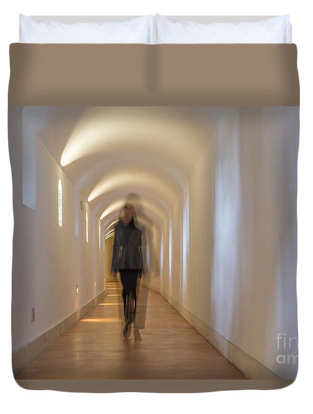 Corridor Duvet Cover featuring the photograph Tunnel by Mats Silvan