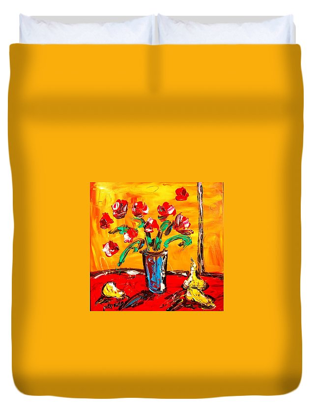 Duvet Cover featuring the painting Flowers by Mark Kazav