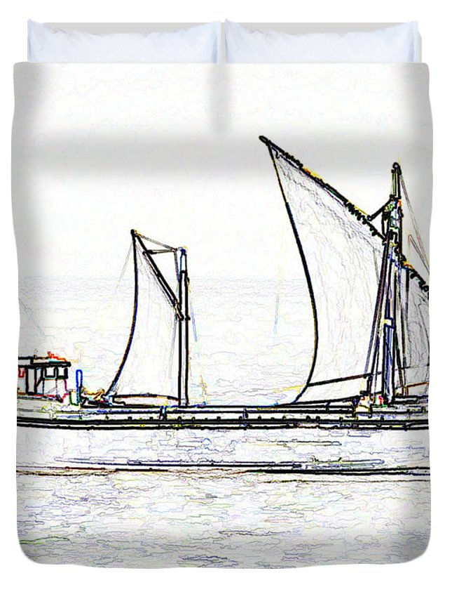 Action Duvet Cover featuring the digital art Fishing Vessel In The Arabian Sea by Ashish Agarwal