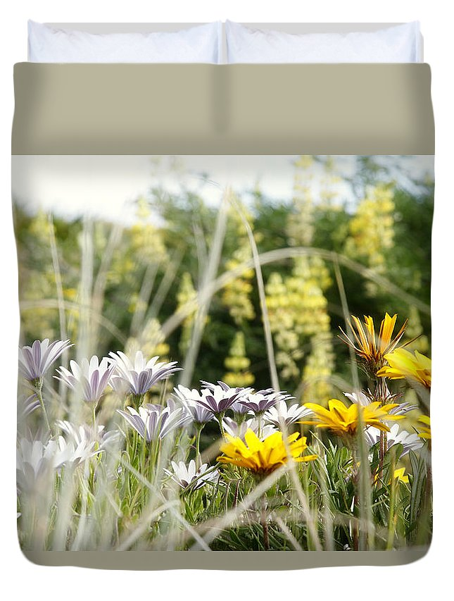 Flowers Duvet Cover featuring the photograph Flowers by Les Cunliffe