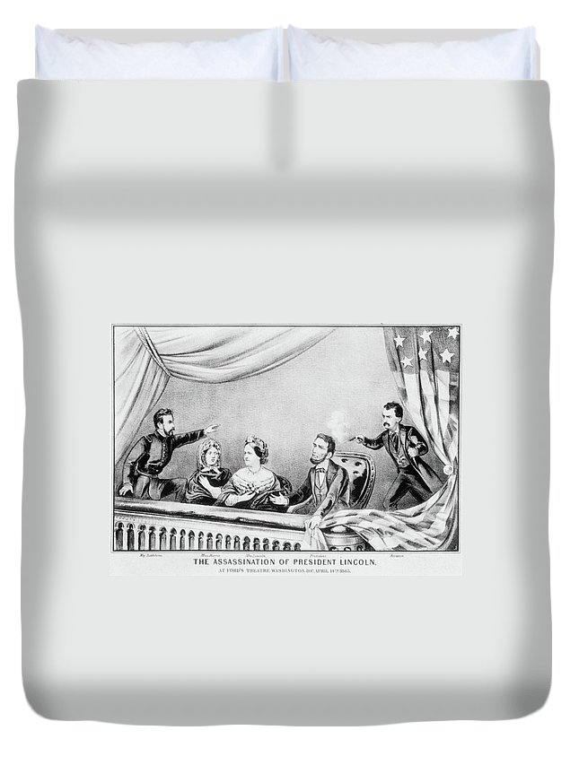 1865 Duvet Cover featuring the painting Lincoln Assassination by Granger