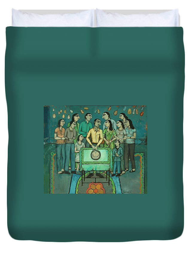 Duvet Cover featuring the painting 15th Of March by Umesh Shah