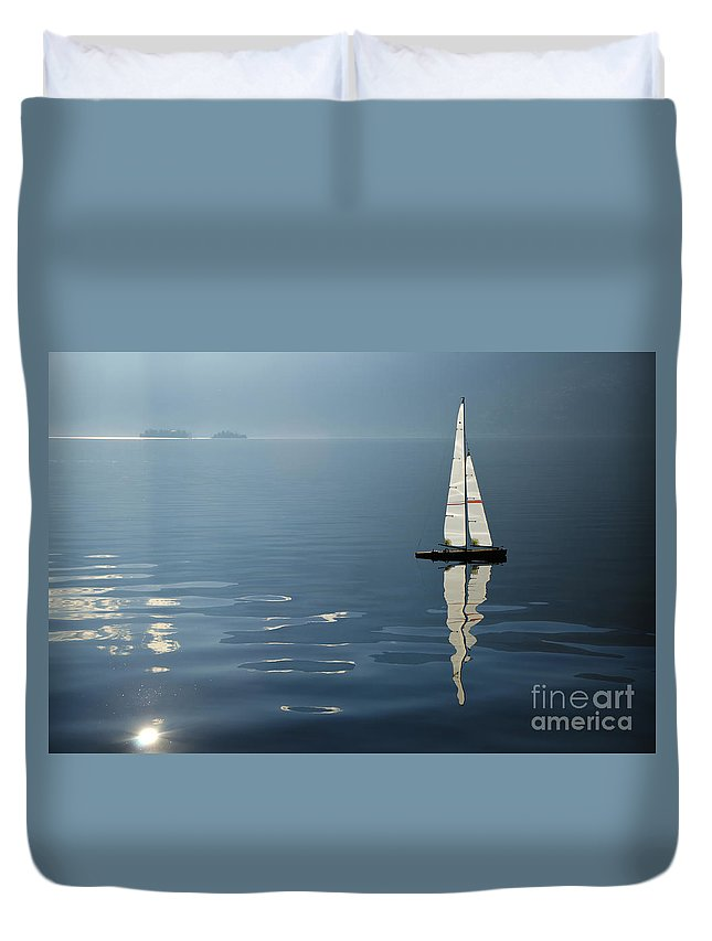 Sailing Boat Duvet Cover featuring the photograph Sailing Boat by Mats Silvan
