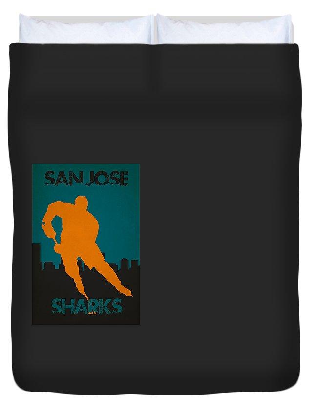 Sharks Duvet Cover featuring the photograph San Jose Sharks by Joe Hamilton