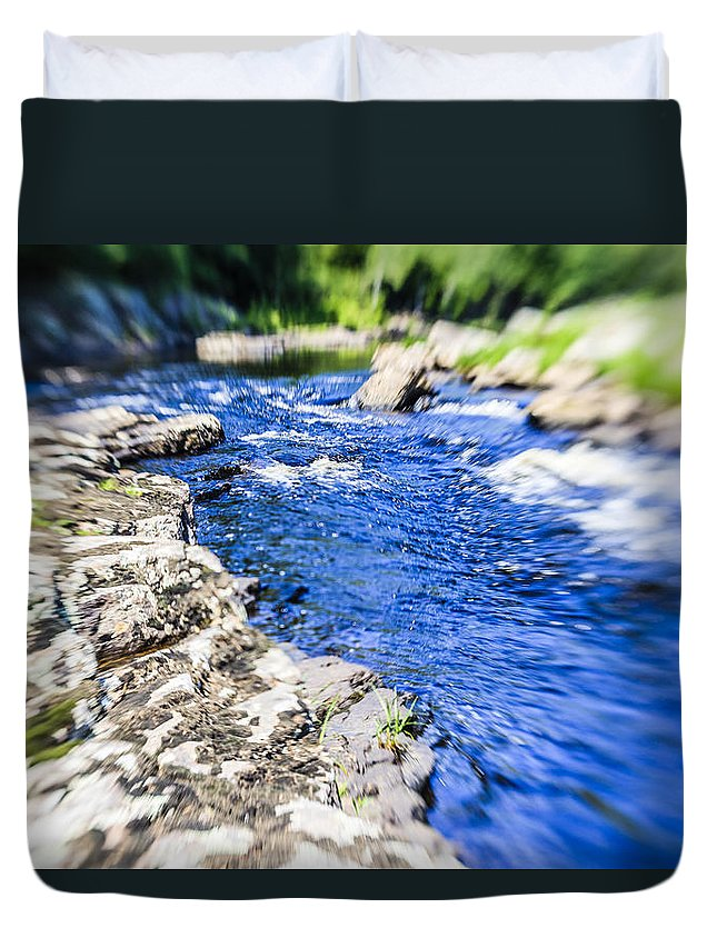 Photoshop.water Duvet Cover featuring the photograph The Stream In Mountain by Alex Potemkin