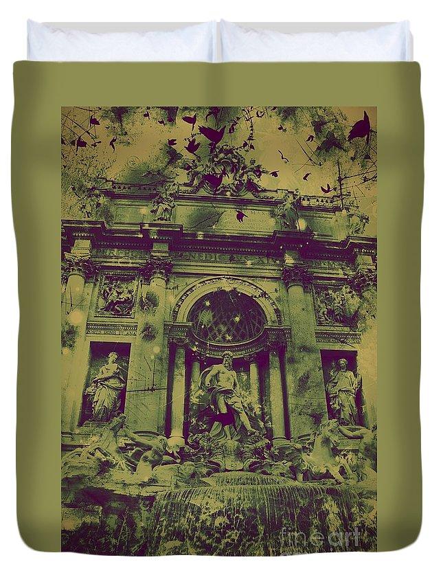 Trevi Fountain Duvet Cover featuring the digital art Trevi Fountain by Marina McLain