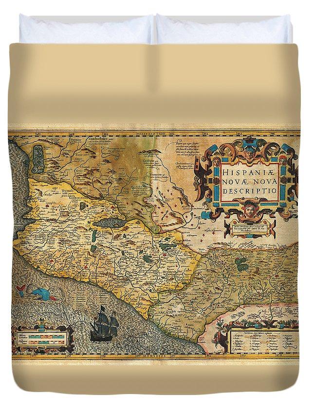 1606 Hondius And Mercator Map Of Mexico Geographicus Hispaniae Nova Mexico Mercator 1606 Duvet Cover featuring the painting 1606 Hondius And Mercator Map Of Mexico Geographicus Hispaniae Nova Mexico Mercator 1606 by MotionAge Designs