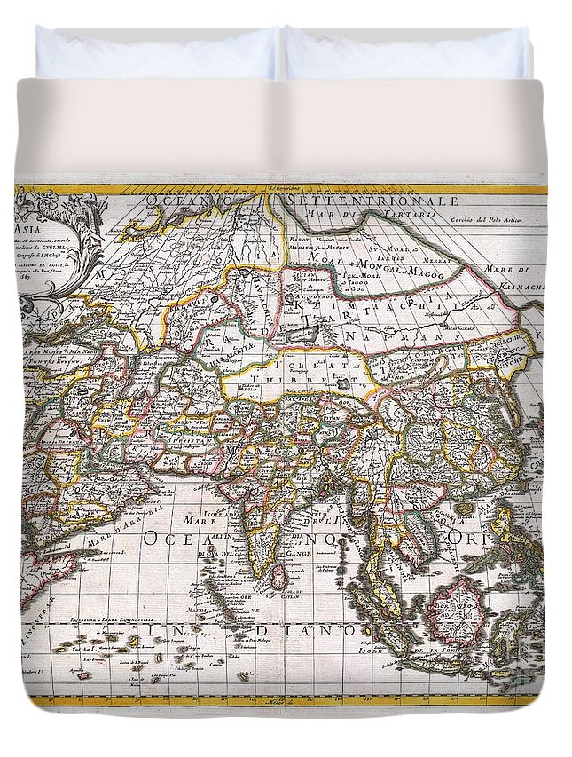 : A Spectacular 1687 Map Of Asia By The Important Italian Cartographer Giovanni Giacomo De Rossi. Depicts The Entire Continent As Well As Parts Of Europe Duvet Cover featuring the photograph 1687 Sanson Rossi Map Of Asia 1687 by Paul Fearn