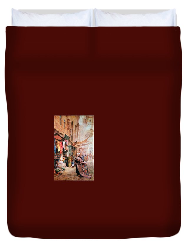 Paul Falconer Poole Duvet Cover featuring the painting Girl With A Pitcher by MotionAge Designs