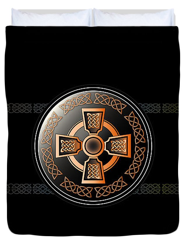 Celtic Duvet Cover featuring the digital art Celtic Cross by Ireland Calling