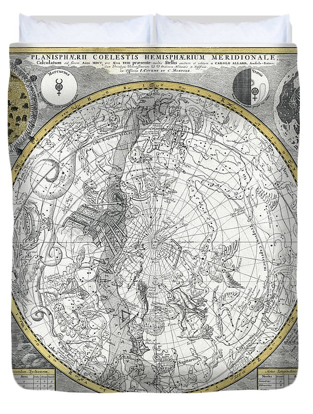 Planisphere Duvet Cover featuring the photograph 1700 Celestial Planisphere by Daniel Hagerman