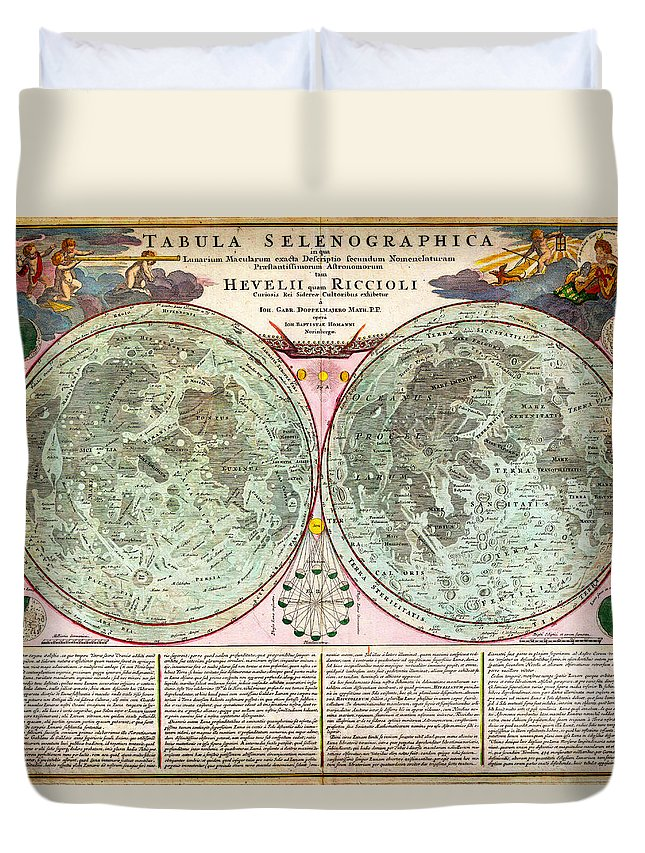 1707 Homann And Doppelmayr Map Of The Moon Geographicus Tabulaselenographicamoon Doppelmayr 1707 Duvet Cover featuring the painting 1707 Homann And Doppelmayr Map Of The Moon Geographicus Tabulaselenographicamoon Doppelmayr 1707 by MotionAge Designs