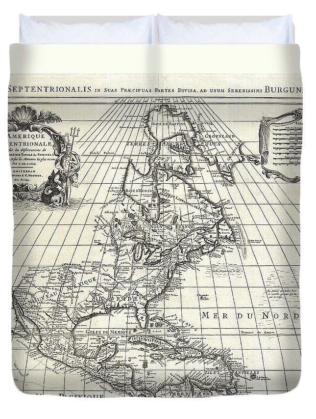 1708 De Lisle Map Of North America Covens And Mortier Ed Geographicus Ameriqueseptentrionale Covensmortier 1708 Duvet Cover featuring the painting 1708 De Lisle Map Of North America Covens And Mortier Ed Geographicus Ameriqueseptentrionale Covensm by MotionAge Designs