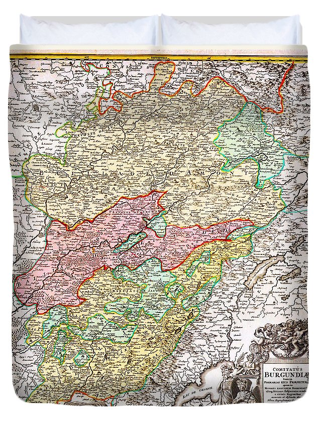 1716 Homann Map Of Burgundy France Geographicus Burgundiae Homan 1716 Duvet Cover featuring the painting 1716 Homann Map Of Burgundy France Geographicus Burgundiae Homan 1716 by MotionAge Designs