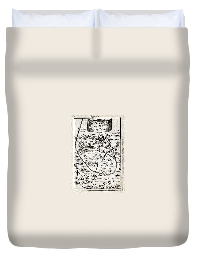 1719 Mallet Map Of The Source Of The Nile Ethiopia Abyssinia Geographicus Nil Mallet 1719 Duvet Cover featuring the painting 1719 Mallet Map Of The Source Of The Nile Ethiopia Abyssinia Geographicus Nil Mallet 1719 by MotionAge Designs