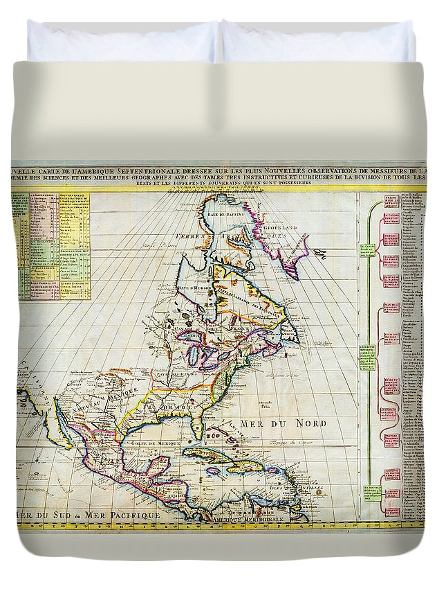 1720 Chatelain Map Of North America Geographicus Amerique Chatelain 1720 Duvet Cover featuring the painting 1720 Chatelain Map Of North America Geographicus Amerique Chatelain 1720 by MotionAge Designs